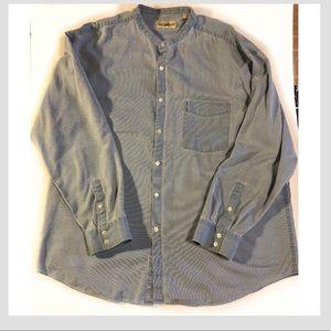 TravelSmith Men's Blue Silk Blend Shirt, size XL